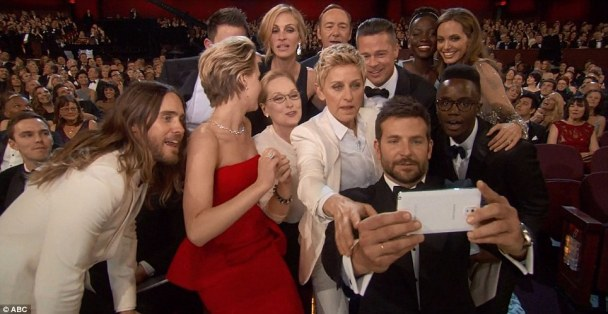'I've got this!' Bradley took charge and made sure he got the perfect picture at the Oscars