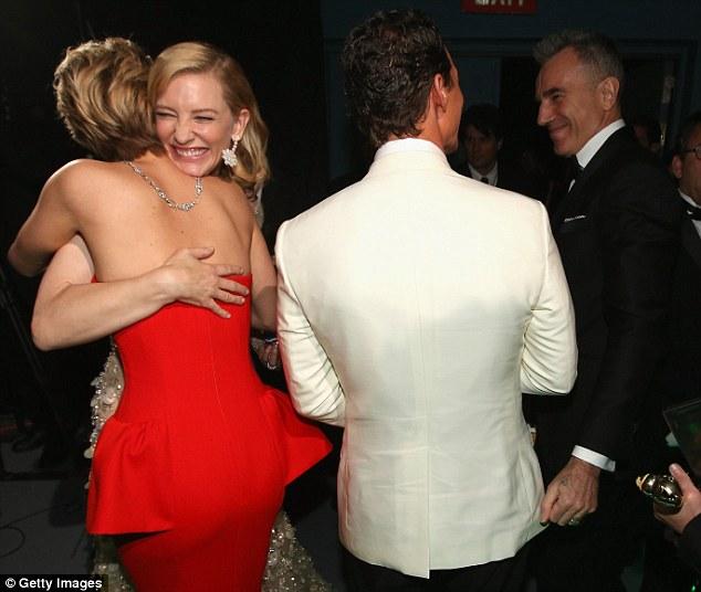 Winner all around: Jennifer, Cate, Matthew and Daniel got together backstage