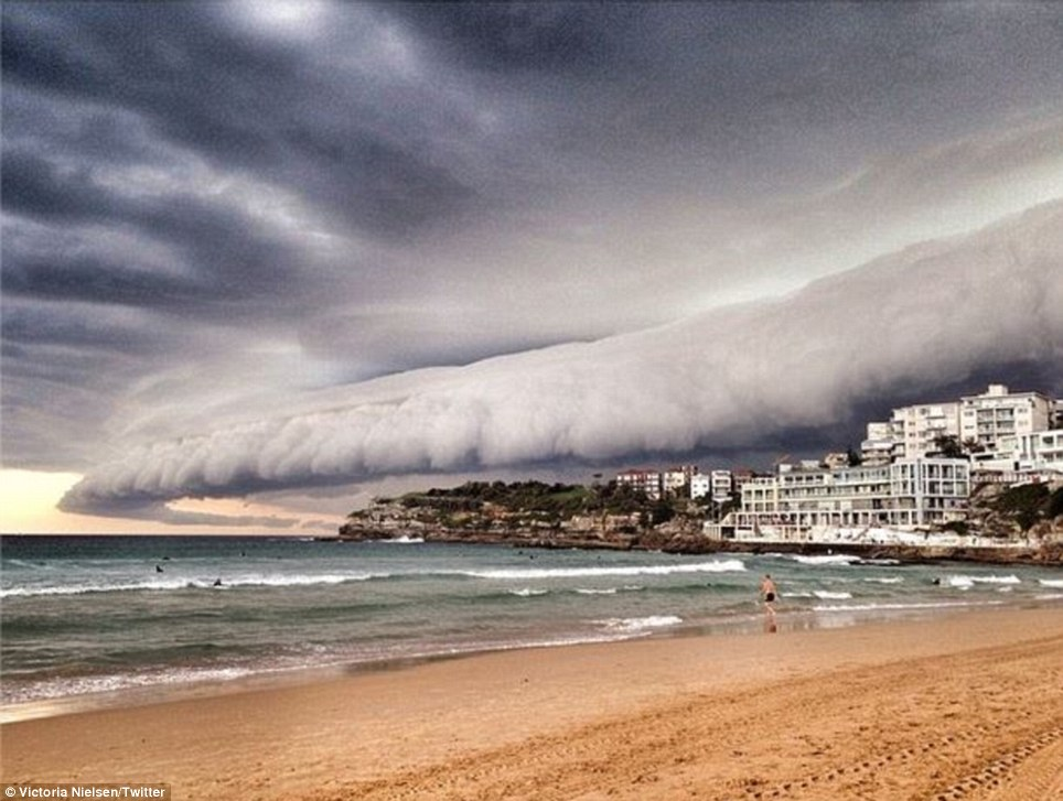 Rolling in: Some of the clouds in the Sydney thunderstorm had a tube-like shape