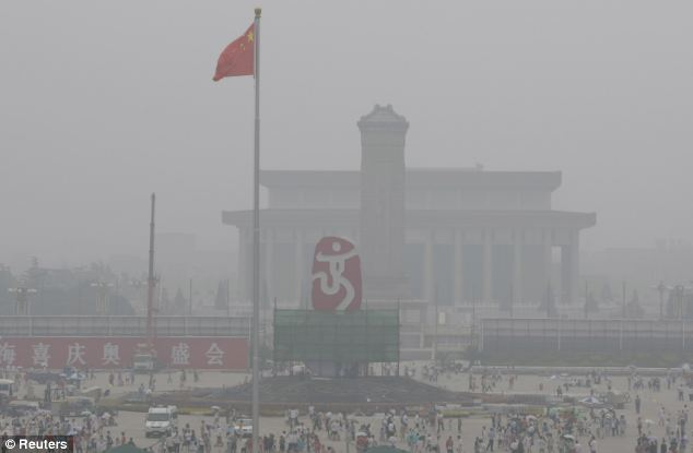 Pollution was so severe in Beijing - Tiananmen Square pictured - at the start of March aircraft were grounded, roads closed and tourists numbers hit, while the direct danger posed to human health was underlined by the World Health Organisation, whose readings in Beijing had alarming results