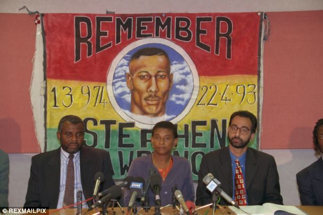 Campaign: Neville and Doreen Lawrence attend a press conference at the commission for racial equality in 1997