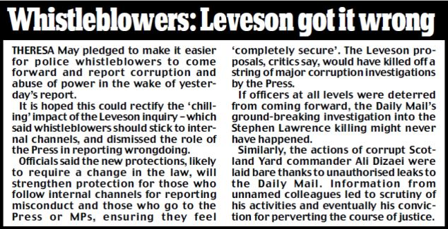 Whistleblowers: Leveson got it wrong