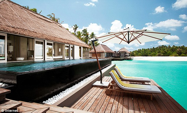 The couple arrived at Cheval Blanc Randheli (pictured) on Noonu Atoll, on Thursday for a week-long break. Packages there, including fights, can cost £6,799 a person