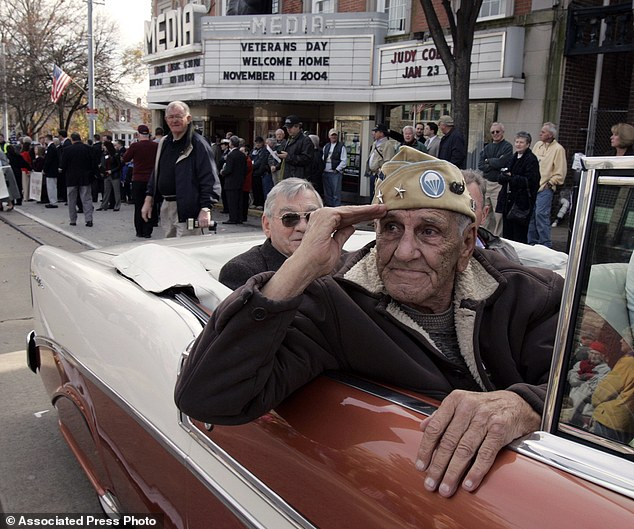 "World War II veteran William ""Wild Bill"" Guarnere, seen here participating in the Veterans Day parade in Media, Pa. in 2004,  has died at the age of 90"