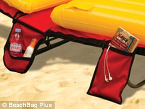 Beachbag Plus is a beach bag that folds out over a beach lounger with cool bag, wet pockets and secret pockets for valuables
