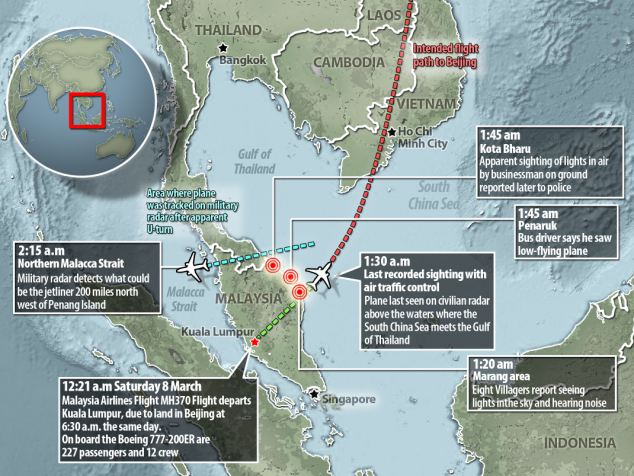 Police in Malaysia have said they had nine eyewitness reports of aircraft 'noise and lights' being seen in the north-east of the country, near the border with Thailand, after the plane's last recorded sighting on civilian radar systems