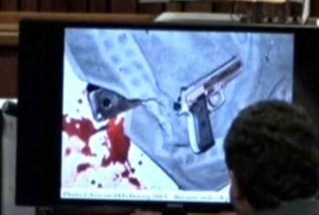 Grim: The court was shown this picture of the 9mm pistol used to kill Miss Steenkamp as it was found by the first police officer on the scene. The hammer was still cocked with the safety catch removed, the trial heard