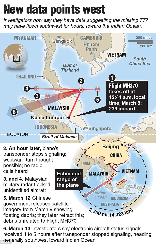 What we know: A timeline and map reveals the extent of what is known so far about the movements of Malaysian Airlines flight 370