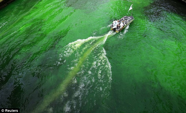 Green glow: Legend has it that water from the Chicago River flows all the way to Ireland