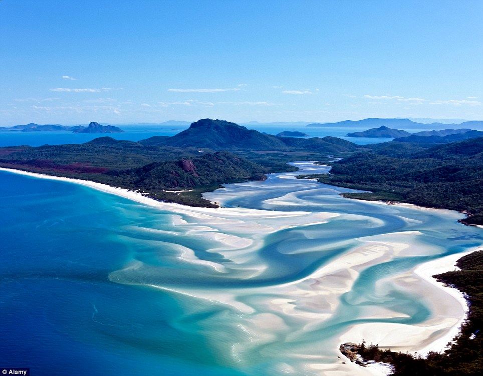 Fifth place: Whitehaven Beach, in the Whitsunday Islands in Australia, boasts miles of pure white sand and azure waters