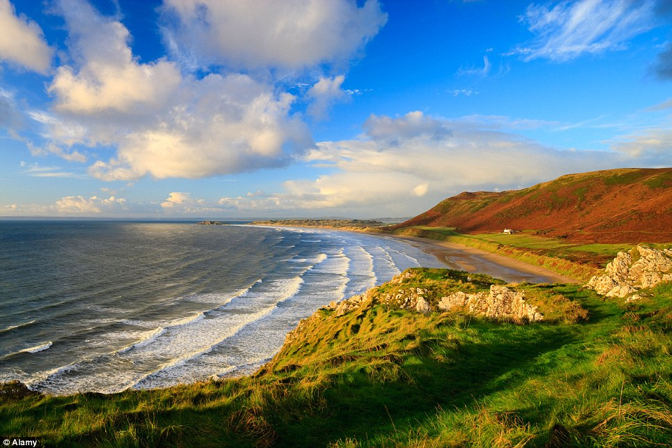 Taste of home!: Rhossili Bay in Swansea, Wales, is the only UK beach to make it on to the list of the top 10 best in the world