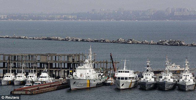 Ukrainian Coast Guard vessels are docked in the Black Sea port of Odessa March 19, 2014. Ukraine's border guard service announced that all its vessels have left Crimea, and Crimea's naval ports are now under the control of Russian forces, according to local media