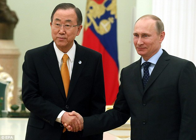 Talks: United Nations Secretary-General Ban Ki-moon meets with Russian President Vladimir Putin at the Kremlin in Moscow on Thursday