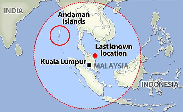 Location: The Andaman Islands are far north of the debris that's been sighted by a U.S satellite