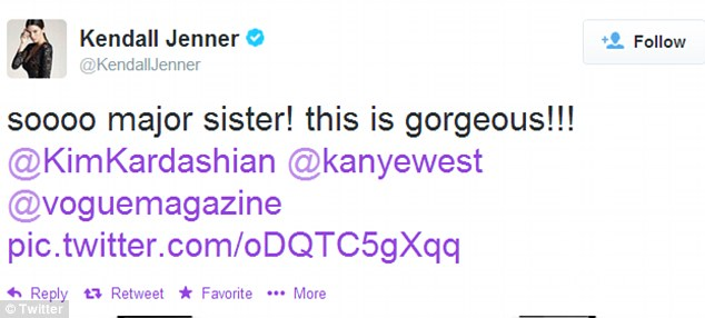 Major! Kendall Jenner also weighed in, calling the cover 'gorgeous', a post which was retweeted by her younger sister Kylie