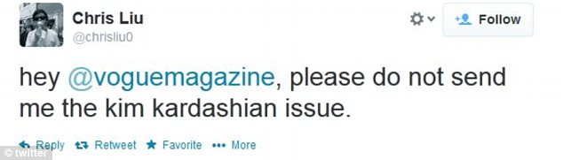 Vogue subscriber Chris Liu would rather not receive the magazine's April issue