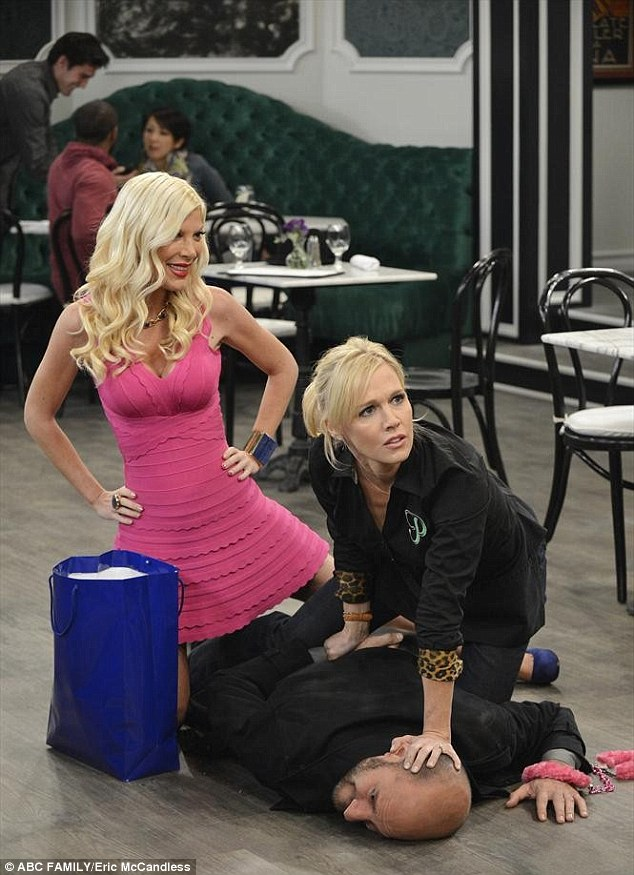 Premiering June 25! Tori recently reunited with her 90210 co-star Jennie Garth to play aging actress Holly Hamilton on ABC Family's Mystery Girls