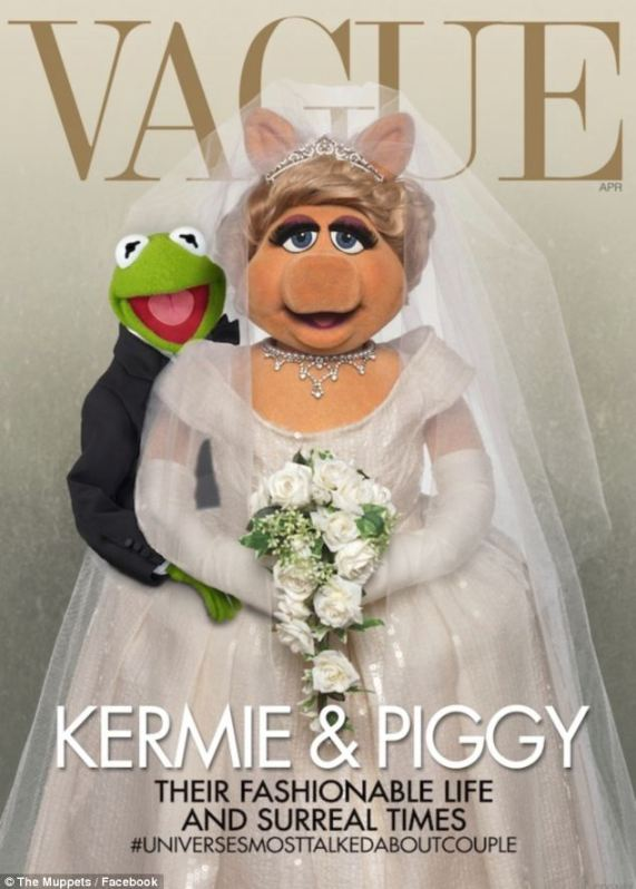 It's Kermiggy! Kermit and Miss Piggy appear on the cover of 'Vague' magazine, spoofing US Vogue's April cover featuring Kim Kardashian and Kanye West