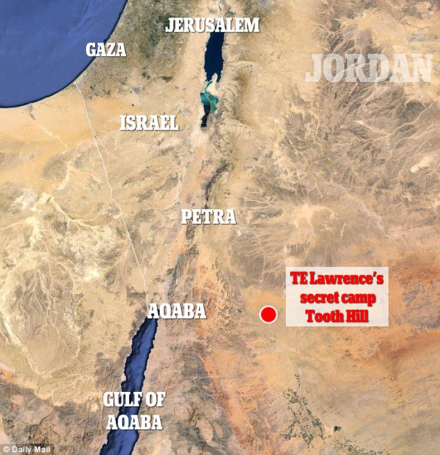 The location of TE Lawrence's camp, which researchers found with Google Earth and an old map in 2014