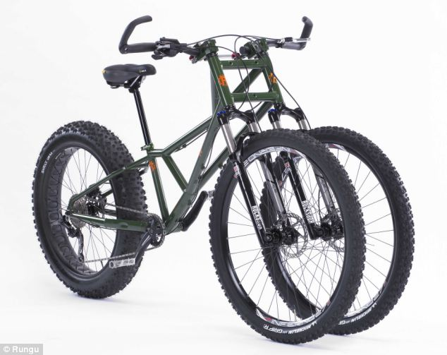 The Rungu Juggernaut can ride on ice and snow thanks to its two front wheels, making it far more stable than two wheelers