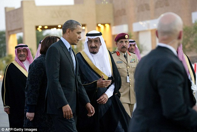 President Obama talks to Saudi Crown Prince Salman bin Abdulaziz al-Saud after arriving at Rawdat Khurayim, the monarch's desert camp 60 miles northeast of Riyadh