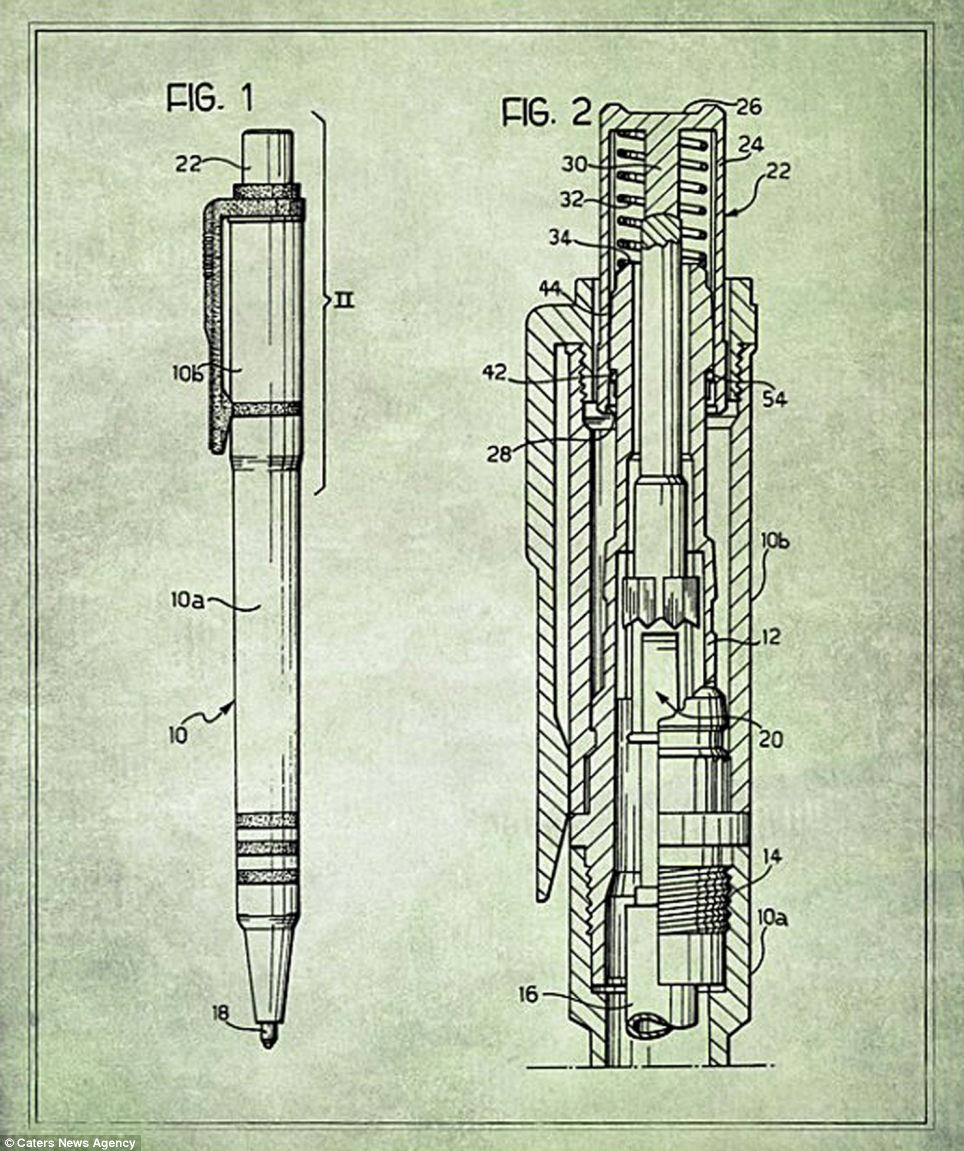The retractable ballpoint pen is pictured. Ballpoint pens have been around since 1888 and dispense a viscous ink from an internal reservoir through the rolling action of a metal ball at its point. The mechanism was originally developed as a cleaner and reliable alternative to fountain pens and millions are manufactured and sold every day