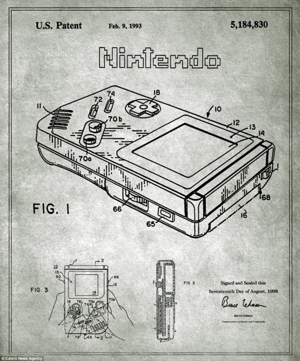 A group of artists have sourced the patents for iconic objects and recreated their designs in a collection of stylish blueprints. They include the print for Nintendo's Game Boy (pictured) which together with the later Game Boy Colour, sold almost 119 million units across the world