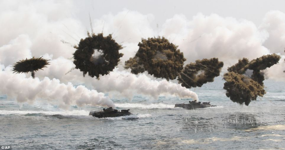 Dispute: The South Korean military shot shells into North Korean waters during a drill after their rivals fired across the sea boundary during their own practice