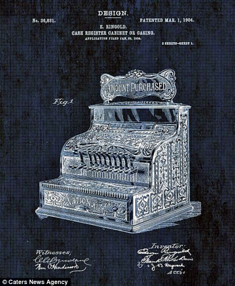 The blueprint for an elaborate cash register is pictured on the right