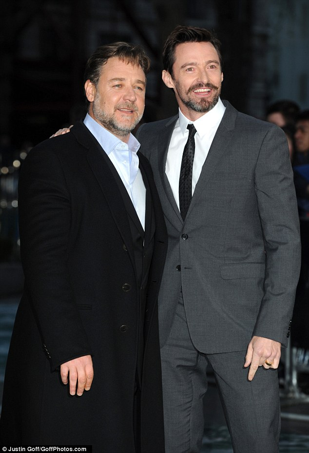 Firm friends: Hollywood star Hugh Jackman (right) is in town after an appearance at the Empire Awards on Sunday night