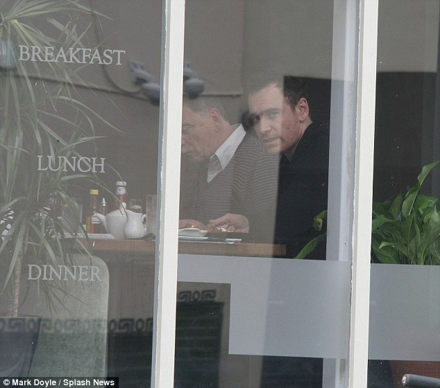 Tucking in: IFTA winner Michael Fassbender went for breakfast at the Canal Bank Cafe