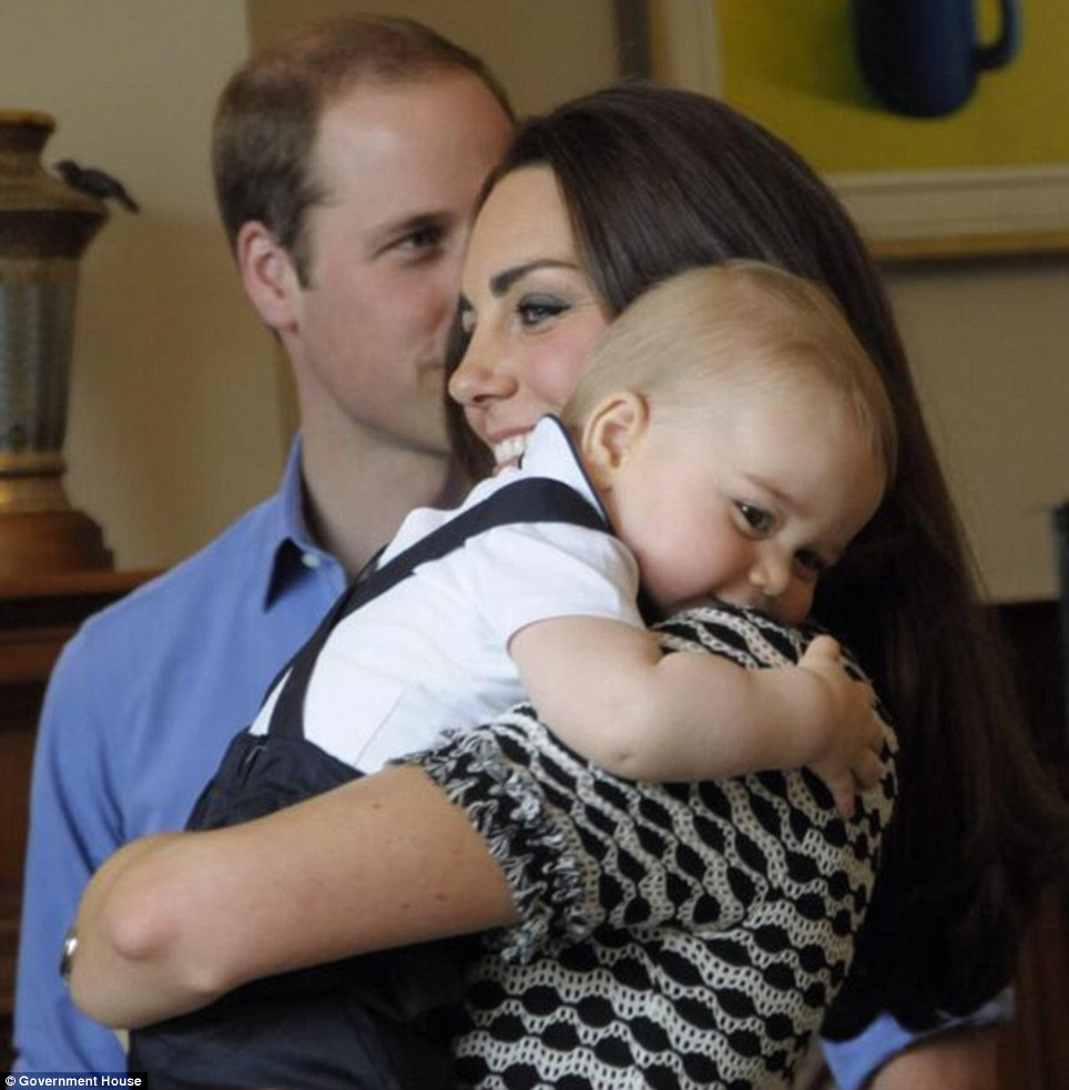 Prince George was accompanied by the Duke and Duchess on a playdate with ten lucky families at Government House in Wellington on Wednesday