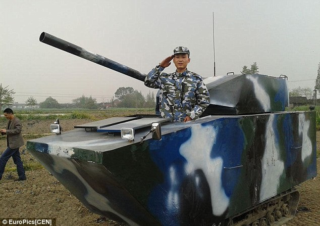 Father Builds A Fully Functioning Tank For His Six Year Old Son In China Daily Mail Online