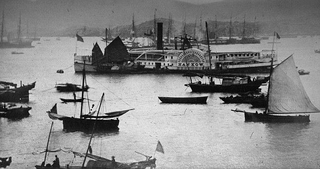 Port: The photograph shows the sun setting on the famous Hong Kong harbour in the late 1860s. The volume contains a total of 46 photos of varying sizes, but four of those are duplicates and one is a defective picture