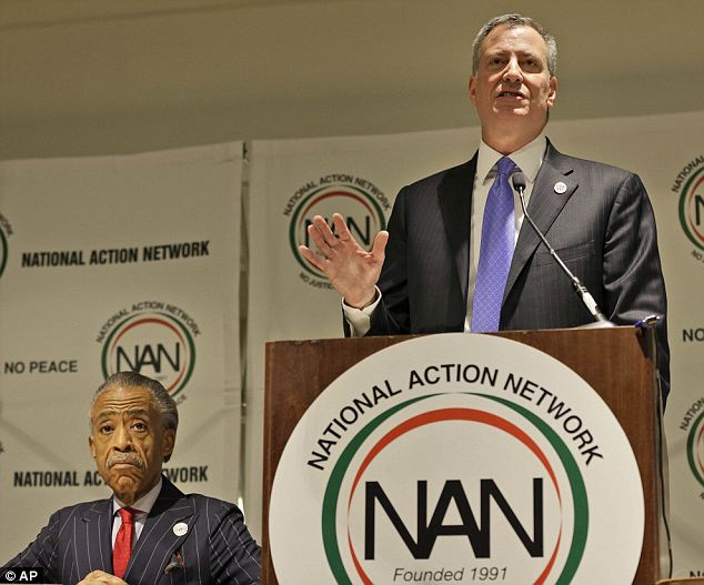 Support: New York City mayor Bill de Blasio said that he was proud to stand with Sharpton at his annual civil rights conference for the National Action Network on Wednedsay