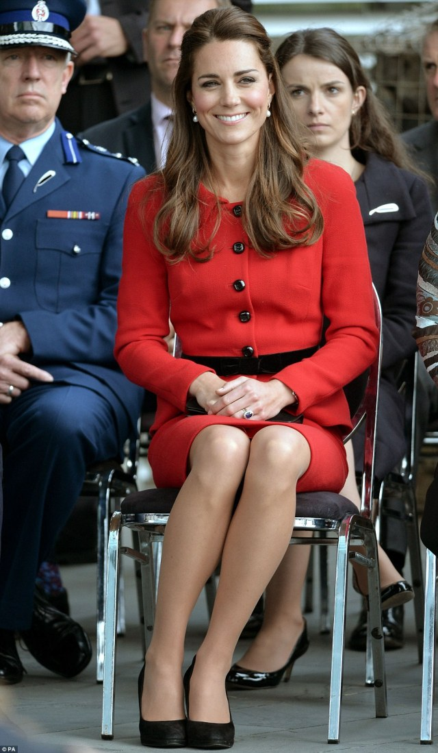 Beaming: The Duchess beamed as she and William were greeted by members of the Ngai Tahu tribe during the eighth day of their official tour of New Zealand