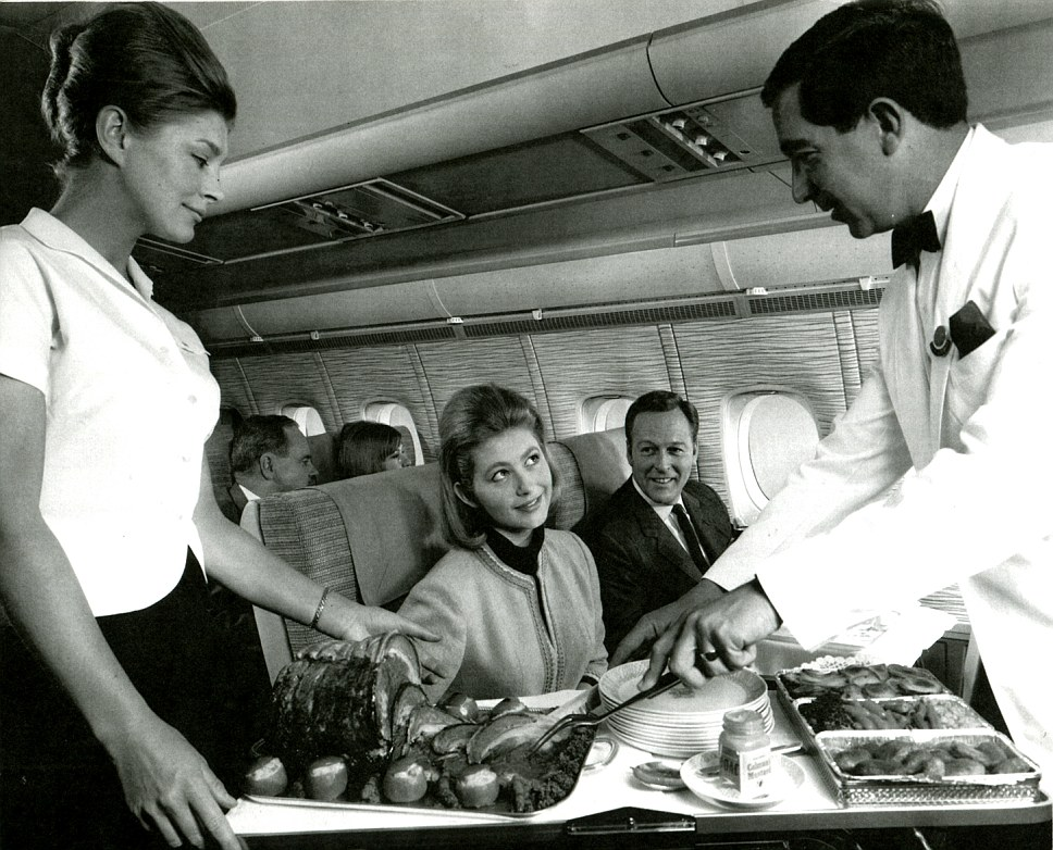 How it was: A photograph from inside the First Class cabin of a British Overseas Airways Corporation plane in the late 1960s