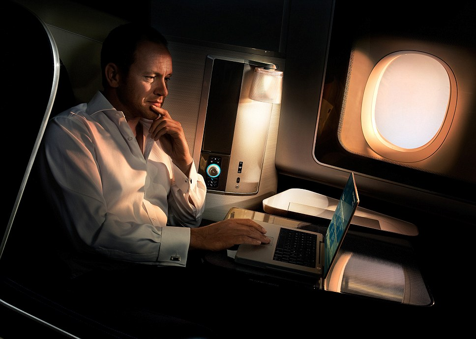 Changing with the times: As of 2010 the British Airways First Suite features all mod cons, including electric blinds, Egyptian cotton sheets and charging port