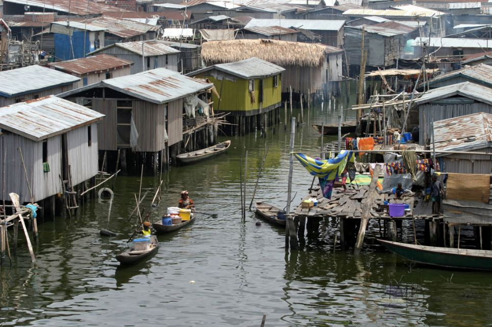 Image result for makoko slums  in africa  floating  in water