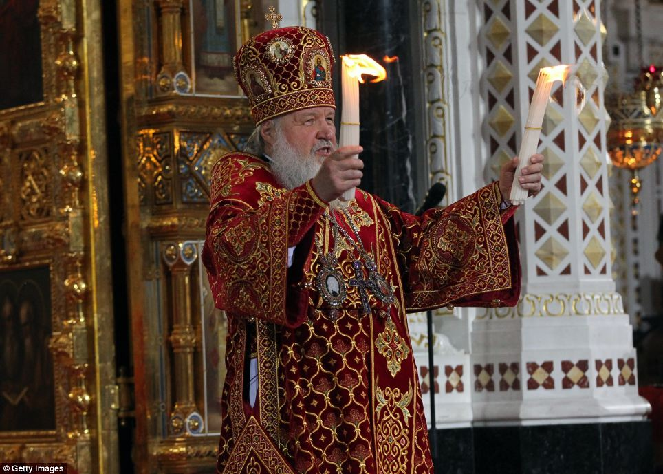 In the Christ the Saviour cathedral in Moscow, Russia, Orthodox Christians watch as Patriach Kirill leads a special prayer service. In the audience was Russian President Putin