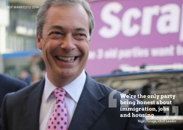 Mr Farage appears in the manifesto, boasting that his party is being honest