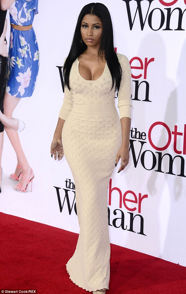 There she is: Nicki Minaj showed off her entire stunning and curvaceous frame on Monday night at the premiere of The Other Woman in Los Angeles, wearing a very low cut dress