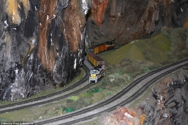 Wonderful: Mr Zaccagnino designed and painstakingly handcrafted the railway on his own over 16 years