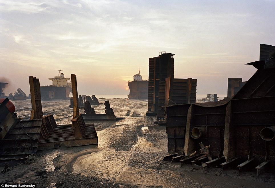 Ship breaking is dangerous work and can expose workers to toxic chemicals. File picture