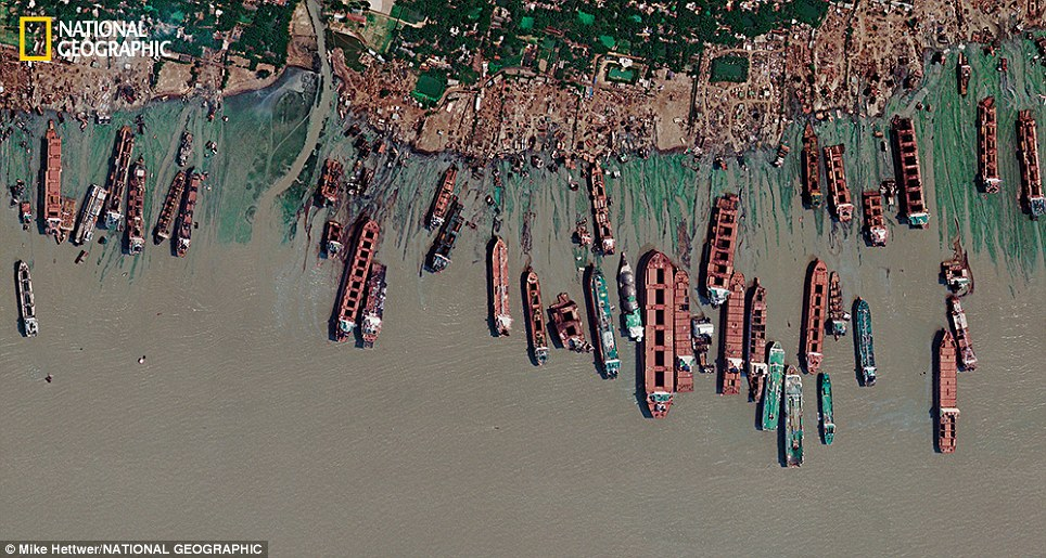 A satellite image shows a mile-long stretch of the Bangladeshi coast just north of Chittagong, where ships from around the world are beached and dismantled
