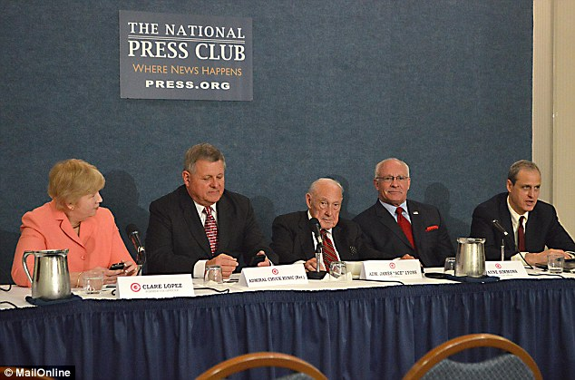 The Citizens Committee on Benghazi released its interim findings on April 22, 2014 in Washington. Pictured are (L-R) Clare Lopez, Admiral (Ret.) Chuck Kubic, Admiral (Ret.) James 'Ace' Lyons, former CIA officer Wayne Simmons and civil rights attorney John Clarke