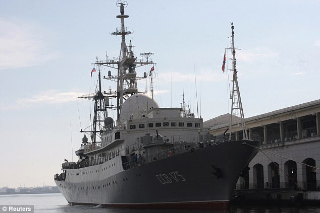 The intelligence-gathering ship Viktor Leonov has been spotted on and off around the East Coast over the past few years (pictured in Havana in 2014)