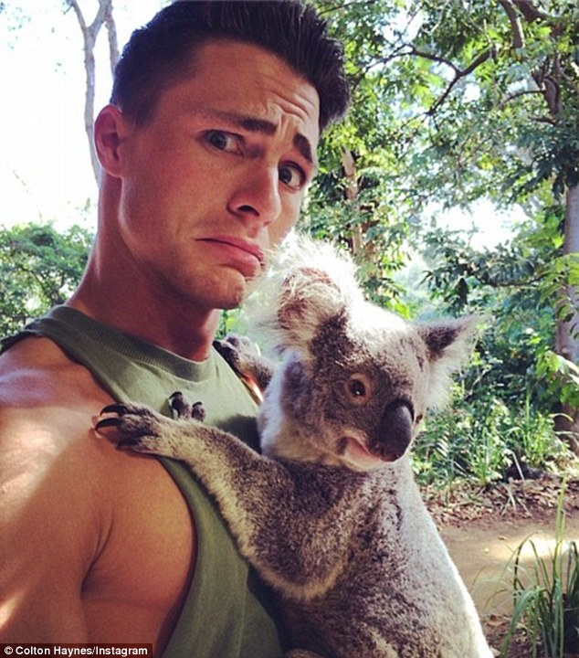 Up close and personal: The 25-year-old posted a selfie of himself with his new koala friend last week and wished his fans a 'Happy Easter'