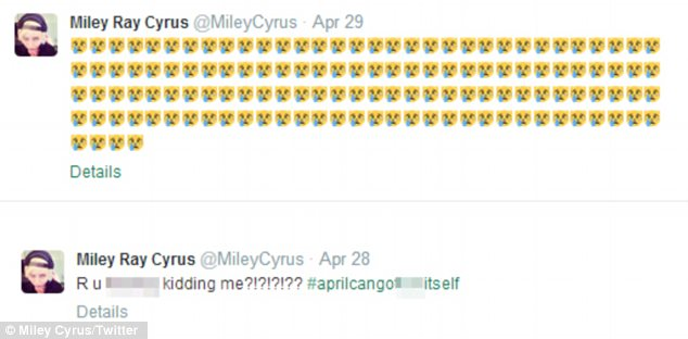 Not happy: Miley's tweets on Monday and Tuesday showed that she was angry and upset about something