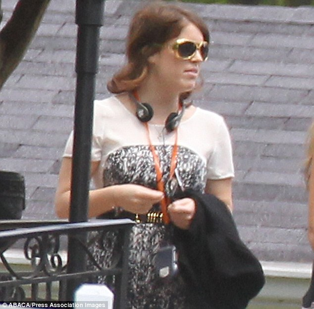 Princess Beatrice also joined in the fun with some Elvis glasses like her sister after jetting into Memphis to attend the wedding of Guy Pelly and American heiress Lizzy Smith
